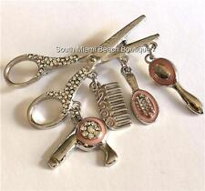 Silver Hair Stylist Pin Brooch Pave Crystals Pink Enamel Charms Blow Dryer Comb