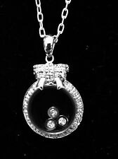 """.925 Sterling Silver FLOATING CZ Pendant Necklace 18"""" Rhodium Plated Charm"""