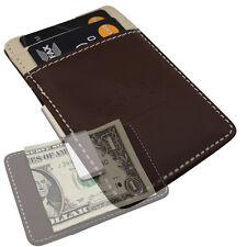 Mens Minimal Money Clip -Brown & Cream Slim Wallet- Leatherette Cash Card Holder