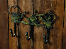 Rustic Green Watering Cans Metal Wall Mount Hook with 3 Hooks