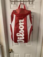 Wilson Super Tour Backpack Bag Tennis Badminton Squash Racquet Red/White.