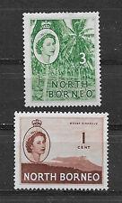 NORTH BORNEO , 1954/57 , QUEEN ELIZABETH II , SET OF 2 STAMPS ,  PERF , VLH
