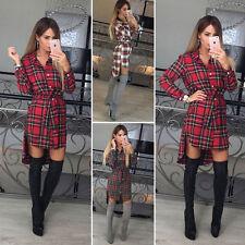 Damen Sexy-V kariert T-shirt Oberteil Pullover Pulli Strickshirt Top Minikleid