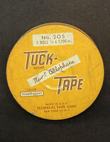 "Vintage TUCK BRAND CELLOPHANE TAPE #205 3"" Round Tin Empty 3"" Diameter"