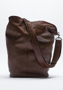 ZARA Brown Real Leather Extra Large Maxi Bucket Bag £119 New with Tags