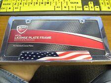 Auto Drive Standard License Plate Frame - US Flag -Chrome Plated Metal