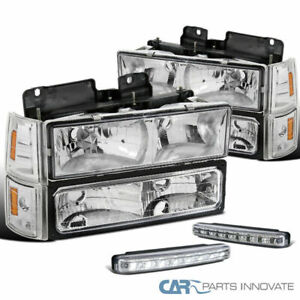 94-98 GMC C10 1500 Clear Lens Headlights+Bumper Corner Lamps+8-LED DRL Fog Lamps