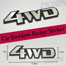 Silver 4WD 4 wheel drive Metal Chrome Racing Emblem Badge Decal Sticker Car Logo