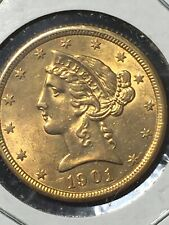 1901 S Us. $5 Dollars Liberty Gold Coin Half Eagle*Uncirculated*No Reserve*
