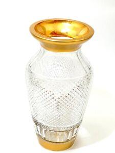 Große Glas Vase mit Brillantschliff & breitem Goldränder Josephinenhütte um 1930