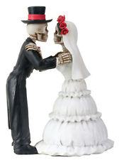 DOD Skeleton Couple Halloween Wedding Cake Topper.The Kiss.Statue Figurine 8364S