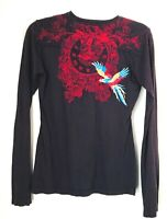 Johnny Was JW Los Angeles Women's S  Top T-Shirt Bird /Clock Embroidered