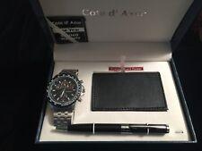 Cote D' Azur Blue Box w/Men's Diver's Watch,Timer, Leather Cardholder Set
