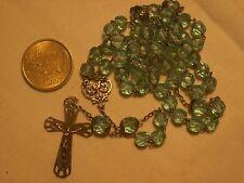 chapelet ancien argent et cristal bleu antique st silver blue crystal  rosary