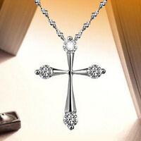 Halskette Collier Kette Kreuz Anhänger Zirkonia 925 Silber pl. Geschenkidee