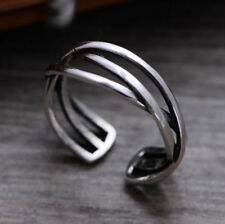 H01 Ring with Located Kreuzenden Bands from Sterling Silver 925 Adjustable Size