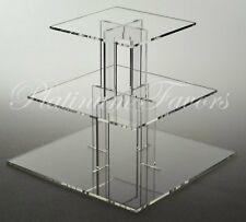 3 TIER SQUARE ACRYLIC CUPCAKE STAND CLEAR WEDDING CAKE STAND