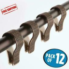 Shower Curtain Hooks Rings Plastic Bronze Sand Brown Pack of 12