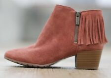 """NEW Kenneth Cole Reaction Ankle Boot Suede Fringe Cowboy Size 6 Bootie 2"""" Heel"""