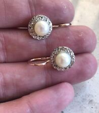 Russian Vintage Rose Gold & White Gold Pearl Earring 583 14k USSR Jewelry