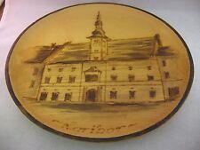 "Vintage Wood Plate MARIBOR Slovenia Building Burn Etching ~ 9.75"" Diameter ~"