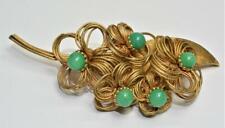 Signed KRAMER Goldtone Green Jelly Belly FLOWERS on LEAF Shape Pin Brooch