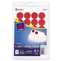 """Avery RED Removable Color Coding Labels 5468, 3/4"""" Round, Pack of 1008"""