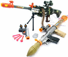 3x Toy Guns - Toy Bazooka, Electronic LMG Machine Gun & 9MM Dart Gun Pistol Set