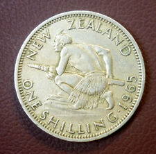 NEW ZEALAND 1962 ONE SHILLING PREDECIMAL Copper Nickel 'Uncleaned' 'VF-EF'.