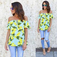 Fashion Women Ladies Summer Off Shoulder Shirt Loose Casual Blouse Tops T-Shirt