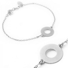 1.5cm Thick Open Circle Celebrity Style Sterling Silver Bracelet 3cm Included.