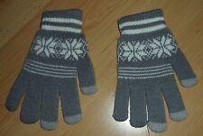 Damen Touchscreen Strickhandschuhe Handschuhe Grau mit Norweger Muster Gr. L