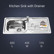 920*435mm Slimline Stainless Steel Kitchen Sink with Drainer Topmount Left Bowl