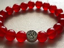 Silver Om Aum Red Crystal Agate 10mm Spiritual Protection Energy Bracelet 7.5""
