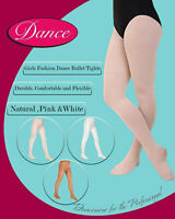 Girls Ballerina Ballet Dance Tights White Pink Natural Tan Ages 3-14 Yrs