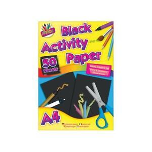 50 Sheet A4 Black paper Pad - Arts & Crafts Children Kids School Projects Draw