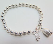 Pure 999 Sterling Silver Smooth Ball Bead Buddha Head Link Chain Bracelet/7.5 ''