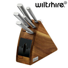 WILTSHIRE Staysharp Premium Radius 6pc Knife Block Set Built-in Sharpener - NEW