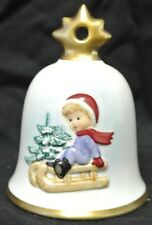 White 1995 Goebel Hummel Annual Christmas Bell Ornament Child with Sleigh Design