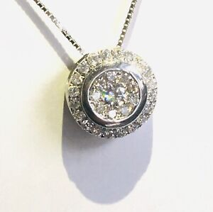 Beautiful 9CT White Gold Diamond cluster 1ct Halo design Pendant and chain 18""