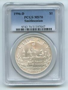 1996 D $1 Smithsonian Silver Commemorative Dollar PCGS MS70