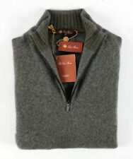 $1495 NWT - LORO PIANA 100% CASHMERE / SUEDE 1/2 Zip Sweater Green Melange 50 M