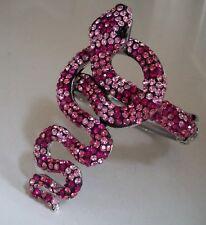 Fashion Silver Finish Crystal Rhinestones SNAKE Lady's Bangle Wrist Bracelet
