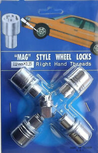 Set of Mag Wheel Lock Nuts 5 Pcs including Key + Washers Available in 4 Sizes