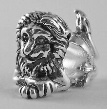 Phi Mu, ΦΜ, Lion European Large Hole Bead Charm Sterling Antique  3D-Sir Fidel