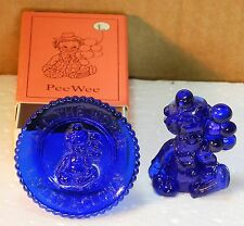 "Mosser Glass Pee Wee the Clown ""L"" Cobalt Blue"