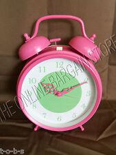 Pottery Barn PB Teen Kids Oversized Button Antique Alarm Desk Table Clock Pink