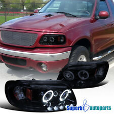 97-03 F150 Expedition 04 F150 Heritage Smoked Halo Projector LED Headlights L+R
