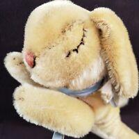 VINTAGE Steiff Sleepy Bunny Rabbit Original Blue Bow, Stitched Eyes, Pink Nose