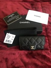 AUTHENTIC CHANEL Card Holder in Black Caviar w/ Gold Hardware
